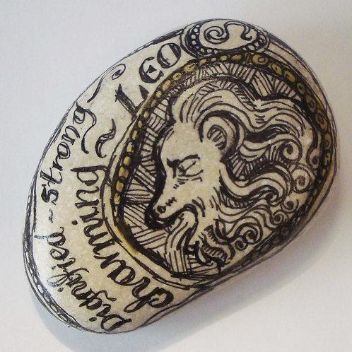 Leo 4 - Hand painted Zodiac Stone