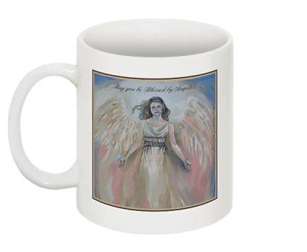 Fanitsa Petrou Art, Angel Mug, art prints, art gifts, May you be blessed by Angels, angel paintings, angels, angel Art, www.fanitsa-petrou.com