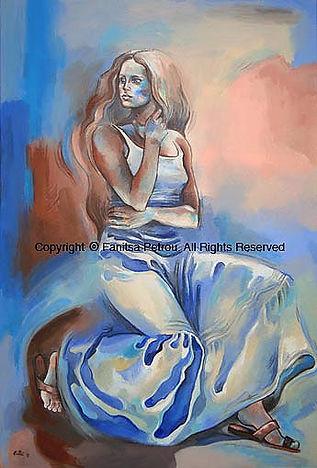 Fanitsa Petrou Art. Traditional paintings, Woman in a romantic skirt, acrylics painting, artwork for sale, www.fanitsa-petrou.com, original art by fanitsa petrou