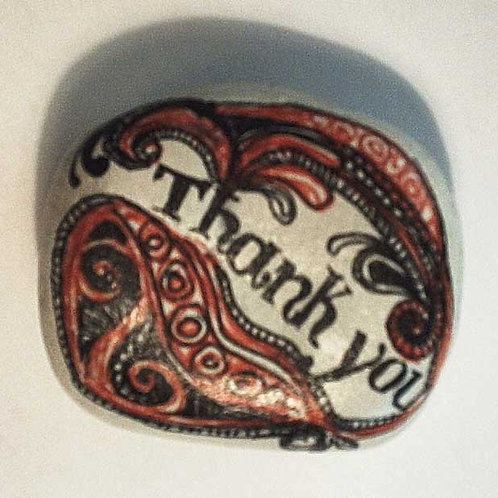 """""""Thank you"""" -2 hand painted stone"""