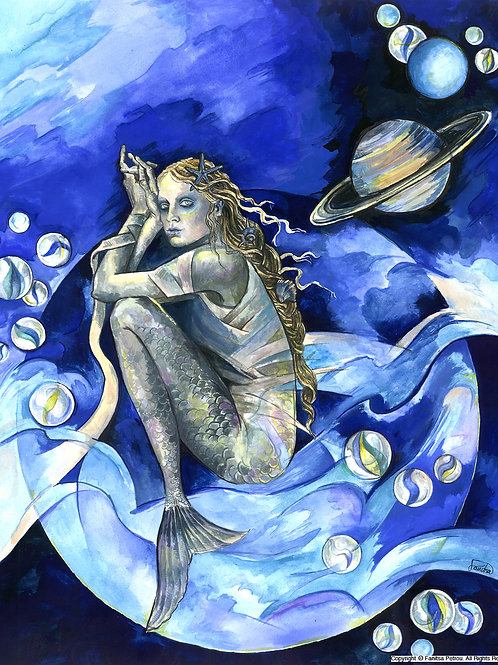 """Blue Mermaid"" card"