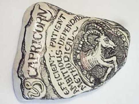 Capricorn 2 - Hand painted Zodiac Stone