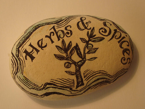"""Herbs & Spices"" 2,  hand painted stone"