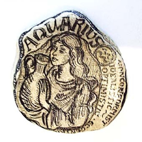 Aquarius - Hand painted Zodiac Stone