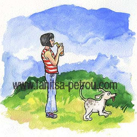 """""""Girl with dog"""" small poster"""