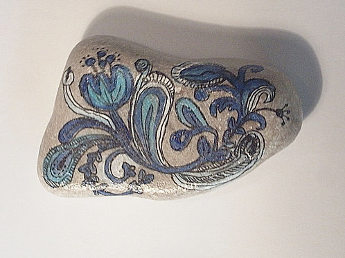 """Blue & White floral""  hand painted stone"