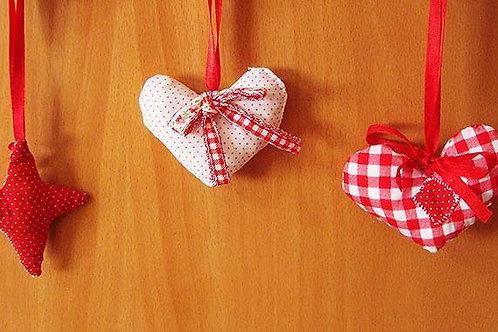 """fabric """"Xmas hearts"""""""