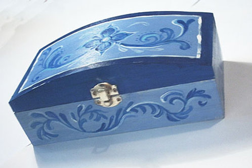 Blue hand painted wooden box