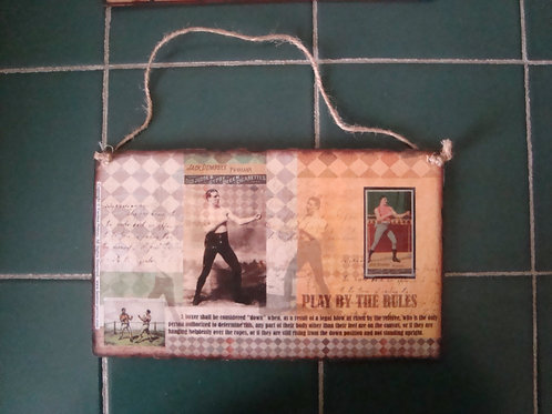 """""""Play by the Rules - boxing""""  wooden sign"""
