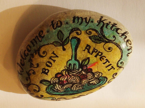 """Bon appetite"" hand painted stone"