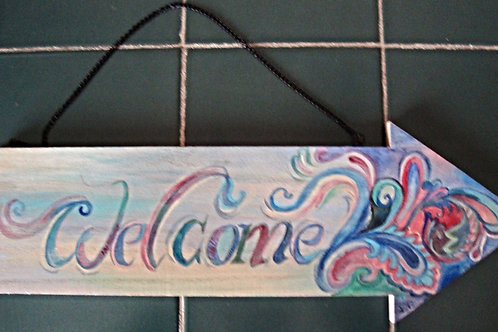 """Welcome"" wooden hand-painted arrow"