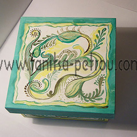 Green square hand painted wooden box