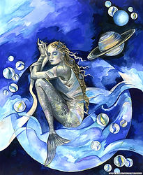 Fanitsa Petrou Art. Blue mermaid. mermaids, the sea, Mythology, goddess tradition. surrealism, Fantasy art by Fanitsa Petrou. www.fanitsa-petrou.com
