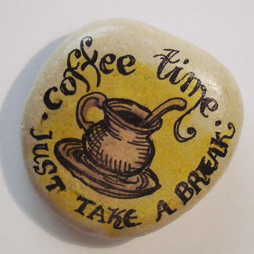"""Coffee time"", hand painted stone"