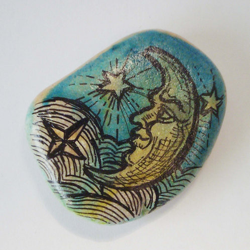 """""""Blue Moon"""", 2 hand painted stone"""