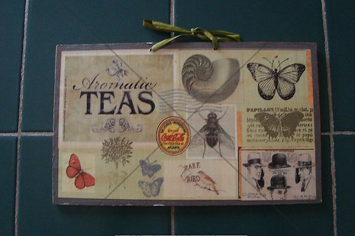 """Aromatic teas"", wooden sign"