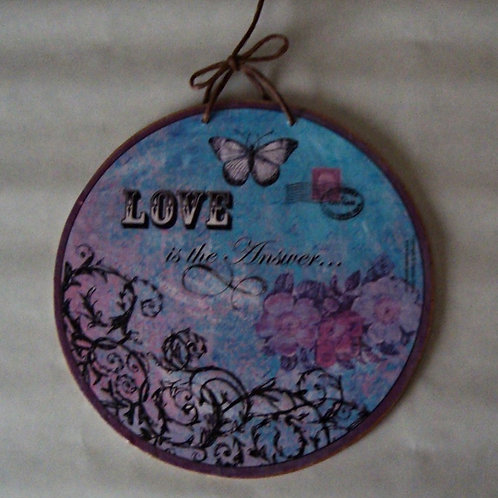 """""""Love is the answer"""", wooden sign"""