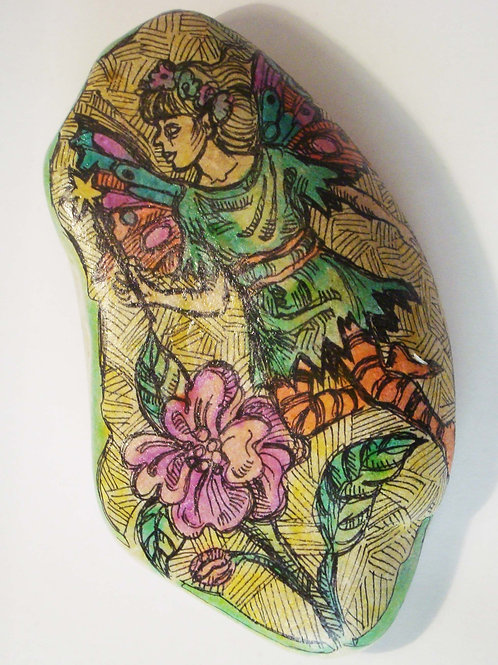 """Little fairy"" hand painted stone"