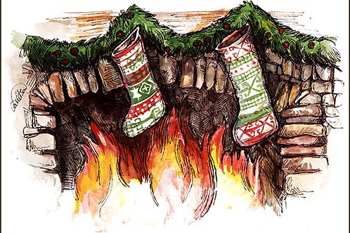 """Xmas stockings"" 2 card"