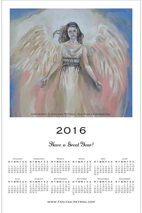 Angel poster, magnet Calendar, 2016