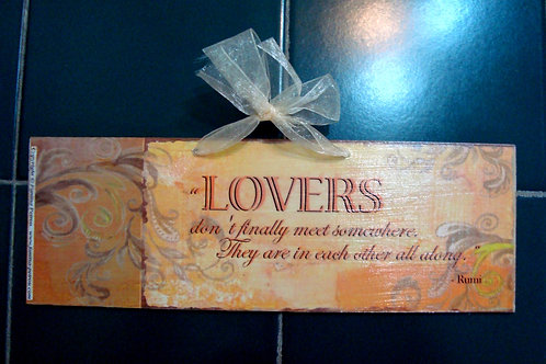 """""""Lovers"""", wooden sign"""