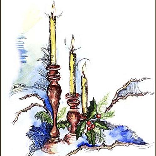 """""""Xmas candles"""" 2 card"""