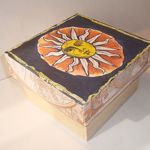 Red & Yellow Sun - wooden box