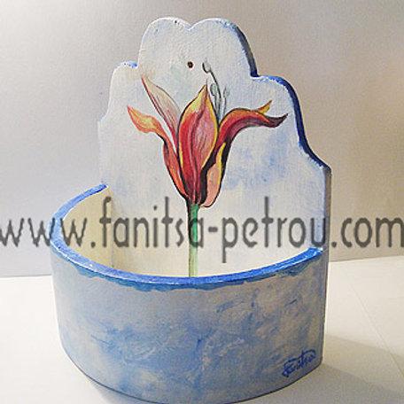 Blue, hand painted, wooden flower pot