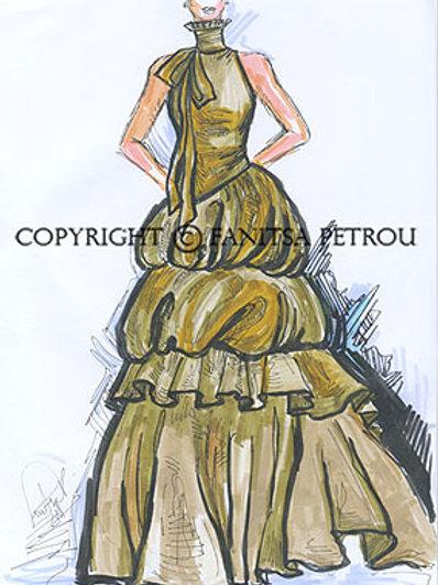 Fashion illustration - Green evening dress