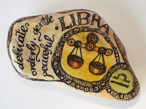 Libra - Hand painted Zodiac Stone