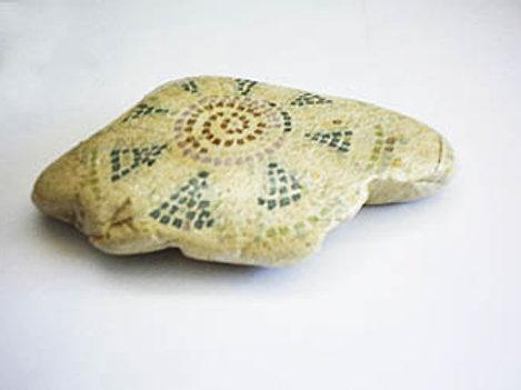 """Mosaic-like"" hand painted stone -2"