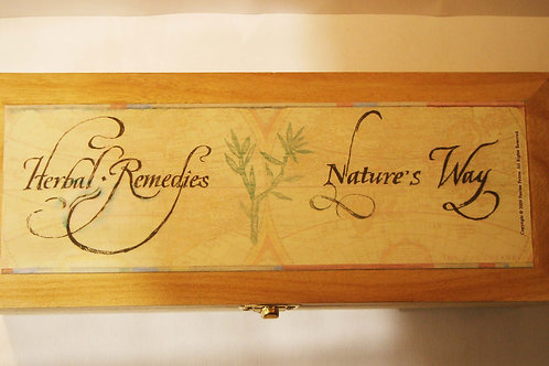 """Herbal remedies / nature's cures"" wooden box"