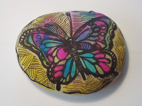 Butterfly hand painted stone, 5