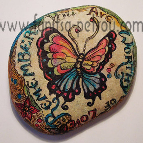 Butterfly hand painted stone, 3
