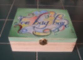 Fanitsa Petrou Art, Tea bag box, gifts for tea lovers, wooden signs, mugs, wooden trays, hand painted stones