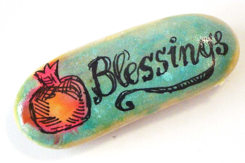 """Blessings"", 1- hand painted stone"