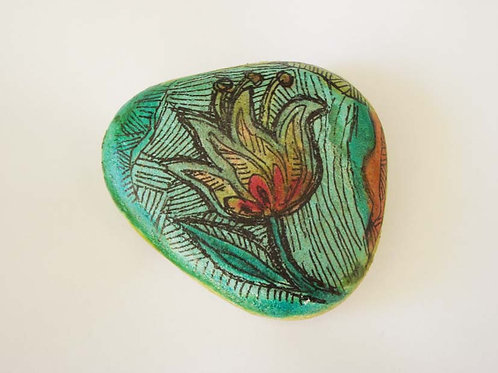 Flower hand painted stone