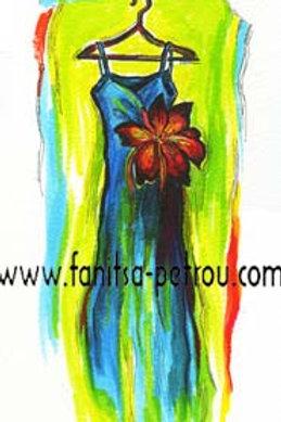 Fashion illustration - Blue Dress / Red Flower