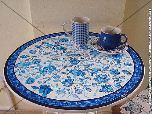 Blue & White Round metallic table