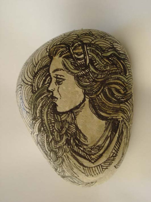 """Maiden"" 3, hand painted stone"