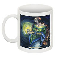 Fanitsa Petrou Art, mug, art print gift, keeper of the Holy Grail painting, holy grail mug, illustration by Fanitsa Petrou, www.fanitsa-petrou.com