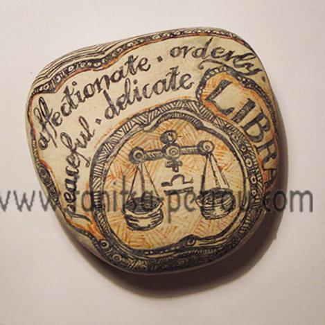Libra 4 - Hand painted Zodiac Stone