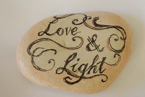 """Love & Light""  hand painted stone"