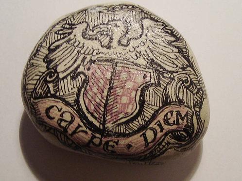 """""""Carpe Diem"""" hand painted stone"""