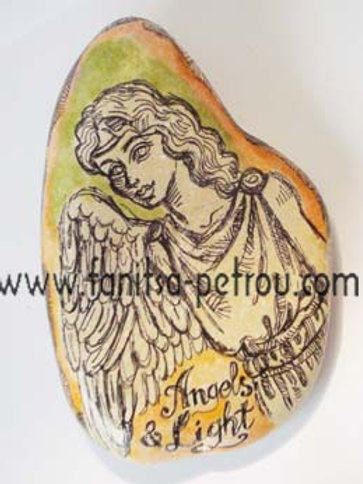 Angel-2, Hand painted stone