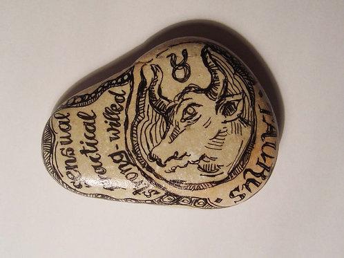 Taurus 3- Hand painted Zodiac Stone