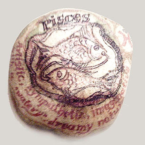 Pisces - Hand painted Zodiac Stone