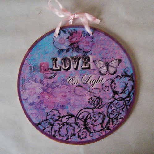 """Love & Light"", wooden sign"