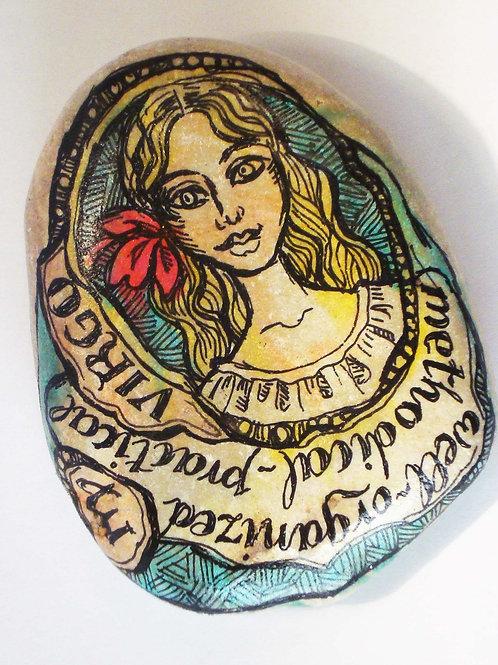 Virgo - Hand painted Zodiac Stone