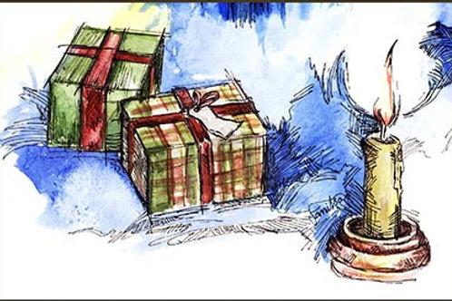 """""""Xmas presents"""" card"""